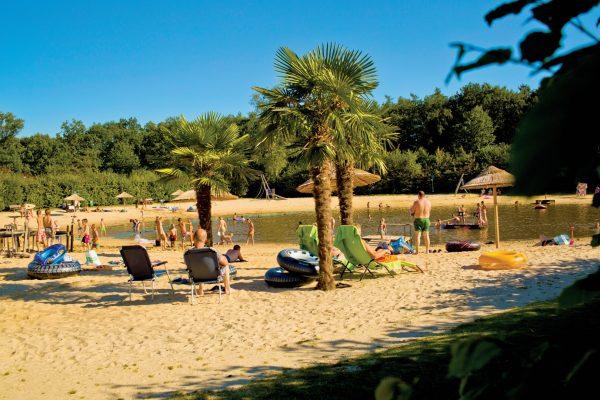 Die Seele, am angelegten Strand mit Palmen, baumeln lassen - Campingplatz De Kleine Wolf